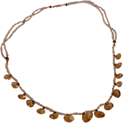 Antique Victorian Natural Seed Pearl Citrine Onxy Necklace