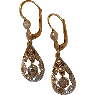 1900s Edwardian 18k Gold Diamond Drop Earrings