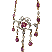 Edwardian Diamond Platinum Ruby Necklace