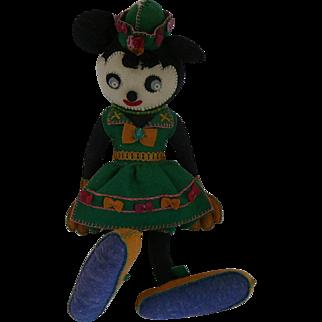 1930s Minnie Mouse Italian All Felt Doll