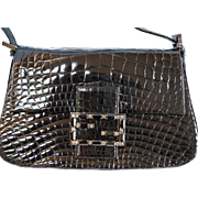 Fendi Alligator Crystal Buckle Mini Evening bag