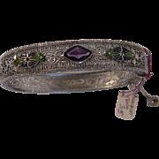 1920's Art Deco Filigree Bracelet w Enamel and Glass Stone