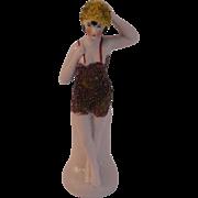 Antique German Hertwig Bathing Beauty Standing Doll w Glitter Suit