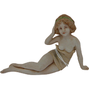 Antique Hertwig German Bathing Beauty Bisque Half Doll