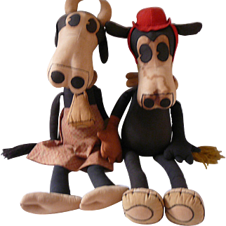"""Rare 1930s Horace Horsecollar and Clarebell 28"""" Stuffed Pattern Dolls"""