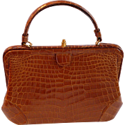 Rare Nettie Rosenstein Cognac Crocodile Mini Framed Bag