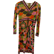 Vintage Emilio Pucci Long Sleeve Silk Dress GREAT PATTERN! Size 10