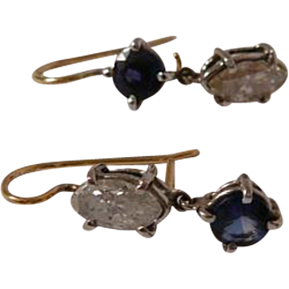 Estate Renee Lewis Marquis Diamond and Sapphire Platinum Gold  Drop Earrings