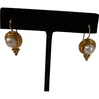 Estate Temple St. Clair Large Pearl Earrings
