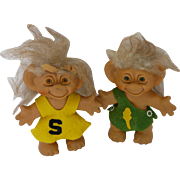 Vintage Thomas Damn Troll Bank Cheerleader Pair Dolls