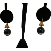 Antique Victorian Mourning Agate Ball Earrings