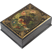 19th Century English Lacquered Painted Dovetailed Box