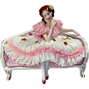 Dresden Lace Porcelain Figure - Lady on a Couch - Red Tag Sale Item