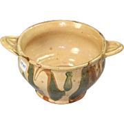 Jaspe Ware Slip Decorated Double Handled Porringer