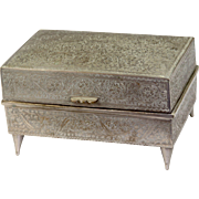 Vintage Silver Plated Musical Jewelry Box