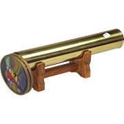 Modern Brass Kaleidoscope with Two Stained Glass Wheels
