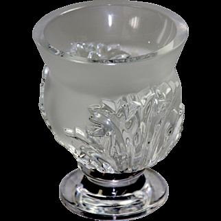 Signed Lalique Crystal Dampierre Vase
