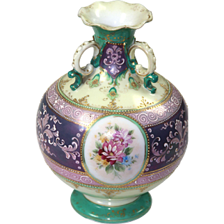 Porcelain Hand Painted Three Handled Moriage Vase