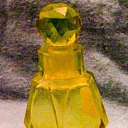 Citrine Color Glass Perfume Bottle - Vintage