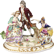 Vintage Dresden Porcelain Group of Two Ladies and a Gentleman