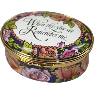 """""""When This You See, Remember Me"""" Halcyon Days enameled Pill Box"""