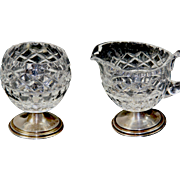Vintage Hawkes Sterling and Crystal Sugar and Creamer