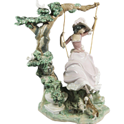"Lladro #1297 - ""Girl on a Swing,"" Large,Glazed."