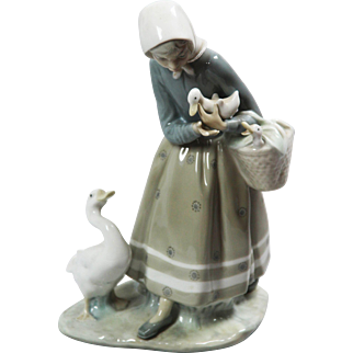 "LLadro #4568 ""Shepherdess With Geese."" Glazed."