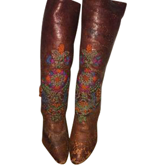 Antique leather boots with high heels for a doll. Lovely hand embroidered.
