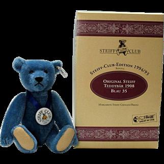 Steiff 420047 Steiff Club 1994 blue teddy bear 1908 replica Limited Edition