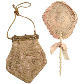 Antique lace range with an antique bag modified with inlaid stones-circa 1880