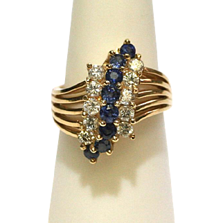 Vintage Blue Sapphire Diamond 14k Yellow Gold Statement Cocktail Ring