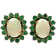 Vintage Opal/Emerald Studs in 14k Yellow Gold