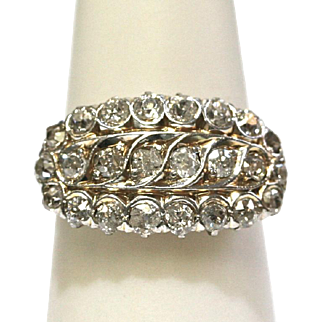 Vintage Filigree Diamond Ring in 14k Yellow Gold
