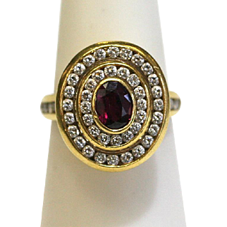Vintage Ruby/Diamond Double Halo Ring in 18k Yellow Gold