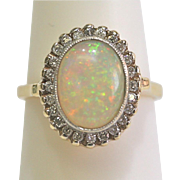 Vintage Opal/Diamond Halo Ring in 14kt Yellow Gold