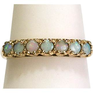 Vintage Opal Band Ring in 10k Yellow Gold