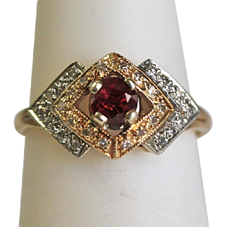 Vintage Garnet/Diamond Ring in 14k Yellow & White Gold