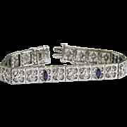 Vintage Diamond/Marquee Sapphire Filigree Bracelet in 14k White Gold