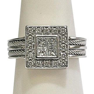 Vintage Square Diamond Ring 0.75ctw in 18k White Gold