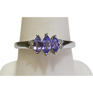 Vintage Marquise Tanzanite/Diamond Ring in 14k White Gold