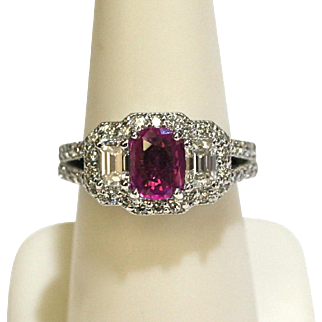 Vintage 1.16ct Pink Sapphire/Diamond Ring 2.00ctw in 18k White Gold-GIA CERTIFIED