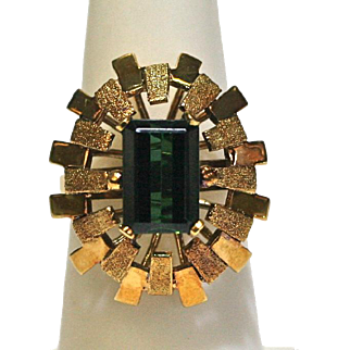 Vintage Dark Green Tourmaline Filigree Ring in 14k Yellow Gold