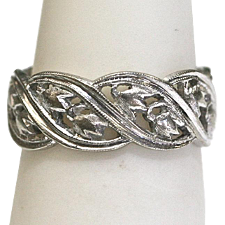 Vintage Filigree Eternity Band in 14k White Gold