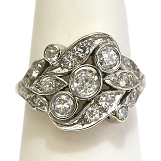 Vintage Diamond Leaf Design Ring in 14k White Gold