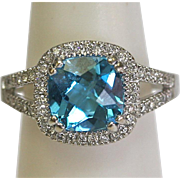 Vintage Blue Topaz/Diamond Halo Ring in 14k White Gold