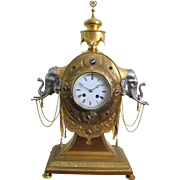 Victorian gilt bronze and silvered elephant clock