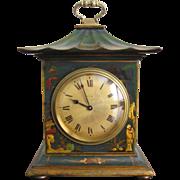 Green Chinoiserie Pagoda Mantle Clock