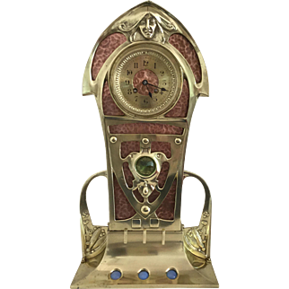Art Nouveau Brass and Copper Salon Clock