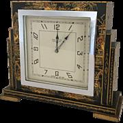 Black Chinoiserie Art Deco Desk Clock